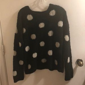 Black and white polka dotted sweater